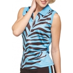 GG Blue Ivy Sleeveless Blue Zebra Golf Polo