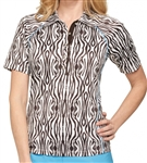 GG Blue Olivia Short Sleeve Zebra Golf Polo