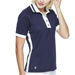 GG Blue Aria Short Sleeve Golf Polo - Navy/White