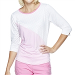 GG Blue Mia Long 3/4 Sleeve Top - Pink Dot