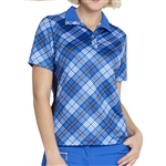 GG Blue Edith Short Sleeve Fold-Over Polo - Joy Plaid