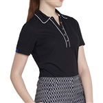 GG Blue Cora Short Sleeve Polo - Black/White
