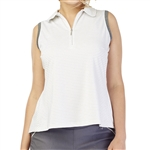 GG Blue Abby Sleeveless Golf Polo - White Sparkle