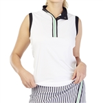 GG Blue Thea Sleeveless Polo - White/Black
