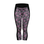 Daily Sports Spot Crop Fitness Capri - Black Floral