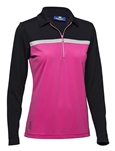Daily Sports Leona Long Sleeve Golf Polo - Navy/Rouge