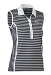 Daily Sports Alexa Stripe Sleeveless Polo - Black