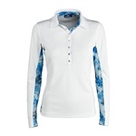 Daily Sports Renata Long Sleeve Mesh Polo - Blue Bell