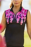 Daily Sports Paeonia Black Sleeveless Polo