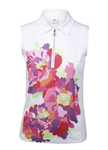 Daily Sports Paeonia White Sleeveless Polo