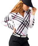 SanSoleil SolTek UPF50 Long Sleeve Prestwick Pink Plaid Polo