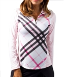 SanSoleil SolTek UPF50 Long Sleeve Prestwick Pink Plaid Mock