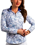 SanSoleil SolTek UPF50 Long Sleeve Mock - Blooms Blue