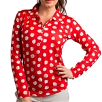 SanSoleil SolTek UPF50+ Long Sleeve Polo - Spot on Red