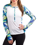 SanSoleil SunGlow Zip Crew Top - Kaleidoscope Blue