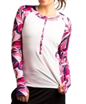 SanSoleil SunGlow Zip Crew Top - Kaleidoscope Pink