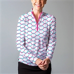 SanSoleil SolCool UV50 Long Sleeve Polo - What Knot Pink