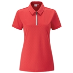 PING Noa Short Sleeve Polka Dot Polo - Cherry Red