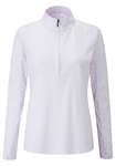 PING Blythe Long Sleeve 1/2 Zip Golf Top - White/Berry