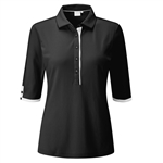 PING Brooke 3/4 Length Sleeve Polo - Black