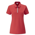PING Noa Polka-Dot Jacquard Polo - Cherry Red