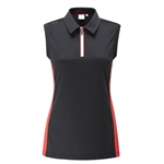 PING Harmony Polka-Dot Jacquard Sleeveless Golf Polo - Black / Cherry Red