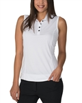 Chase54 Elena Sleeveless Polo - White