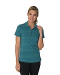 Chase54 Floresta Barcode Stripe Short Sleeve Polo - Teal
