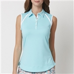 Chase54 Joy Sleeveless Polo - Aquarius