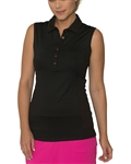 Chase54 Blondie Sleeveless Mesh Polo - Black