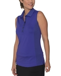 Chase54 Blondie Sleeveless Mesh Polo - Iris