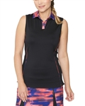 Chase54 QueenSleeveless Golf Polo - Black