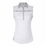 Chase54 Excess Sleeveless Polo - White/Silver