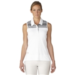 Adidas Melange Stripe Sleeveless Polo - White