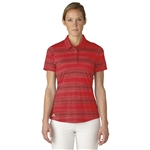 Adidas Melange Stripe Short Sleeve Polo - Ray Red/Unity Pink