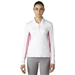 Adidas Golf Essentials 3-Stripes Long Sleeve Polo - White / Easy Pink