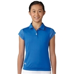 Adidas Girls Micro Dot Golf Polo - Blue