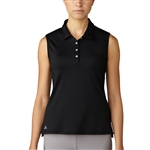 Adidas Essentials 3-Stripes Sleeveless Polo - Black