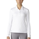 Adidas Golf Essentials 3-Stripes Long Sleeve Polo - White