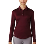 Adidas Performance Long Sleeve Polo - Maroon