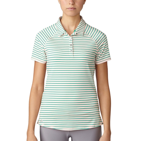 Adidas Double Stripe Short Sleeve Polo - Haze Coral/ Core Green