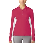 Adidas Golf Essentials 3-Stripes Long Sleeve Polo - Energy Pink/White