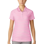 Adidas Double Stripe Short Sleeve Pink Polo