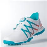 Adidas Womens Adipower Boost BOA Golf Shoe - White / Energy Blue / Easy Coral