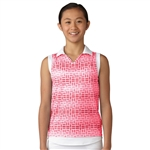 Adidas Girls Core Pink Sleeveless Golf Polo