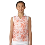 Adidas Girls Haze Coral Sleeveless Golf Polo