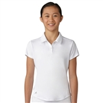 Adidas Girls Performance Short Sleeve White Polo