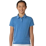 Adidas Girls Essentials Blue Heather Short Sleeve Polo