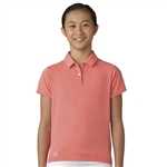 Adidas Girls Essentials Easy Coral Heather Short Sleeve Polo