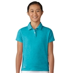 Adidas Girls Essentials Energy Blue Heather Short Sleeve Polo